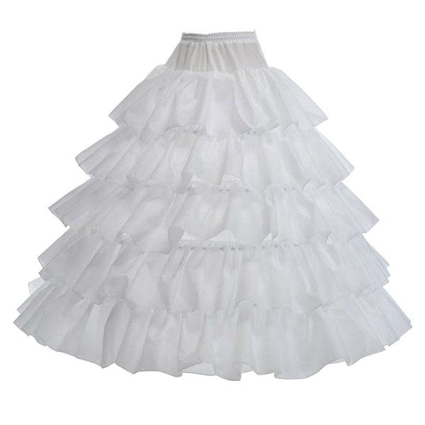 Remedios 4 Hoops Long Ruffled Petticoat Underskirt Crinoline Half Slip by Topwedding