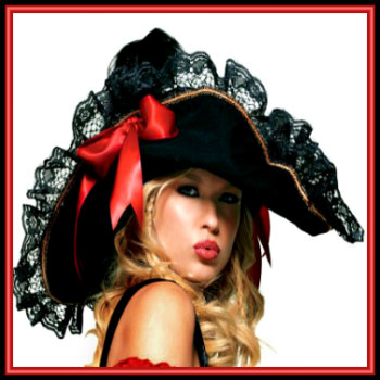 Women's Sexy Vixen Black Swashbucker's Pirate Hat Accented with Gold Braid, Black Lace Trim, and Red Satin Bow