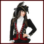 Sultry Black and Red Lady Pirate Jacket image