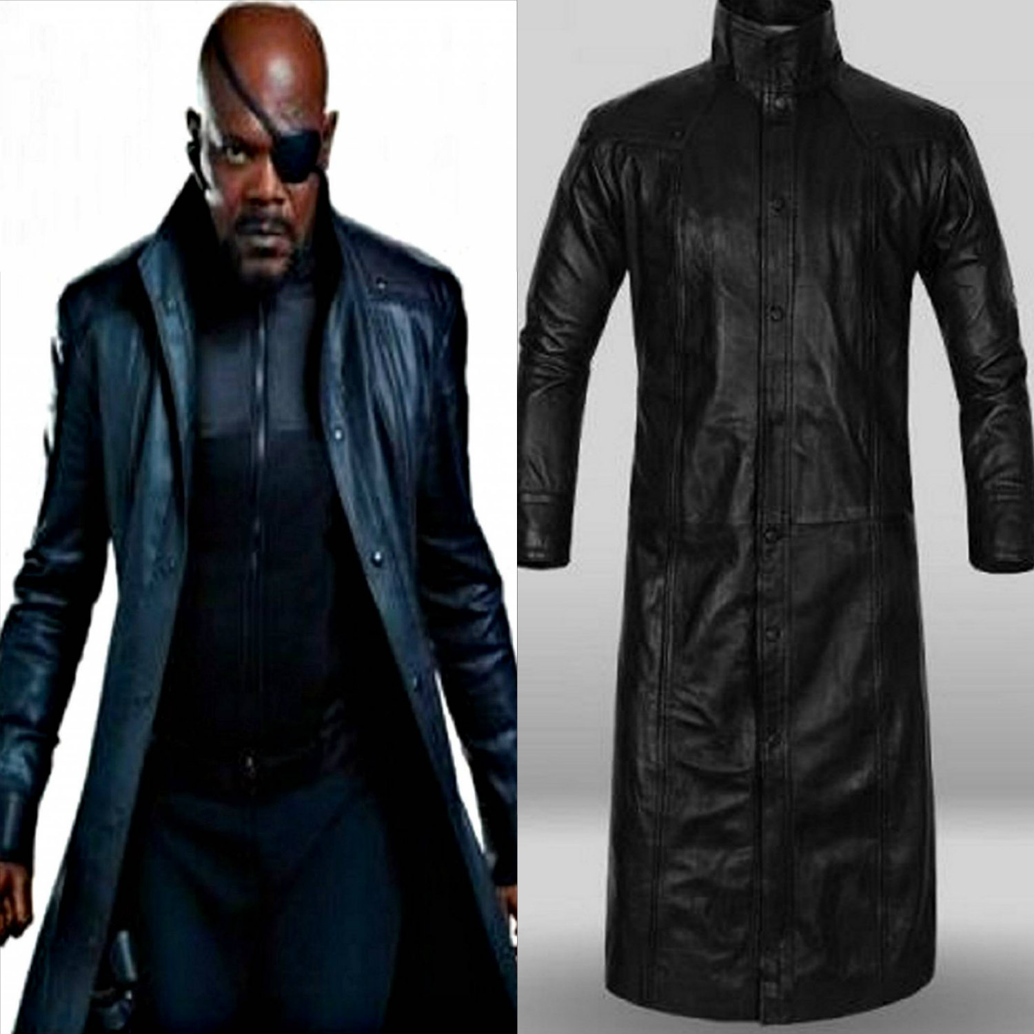 Captain America: The Winter Soldier Adult Avengers Nick Fury Black Genuine Leather Coat - DeluxeAdultCostumes.com