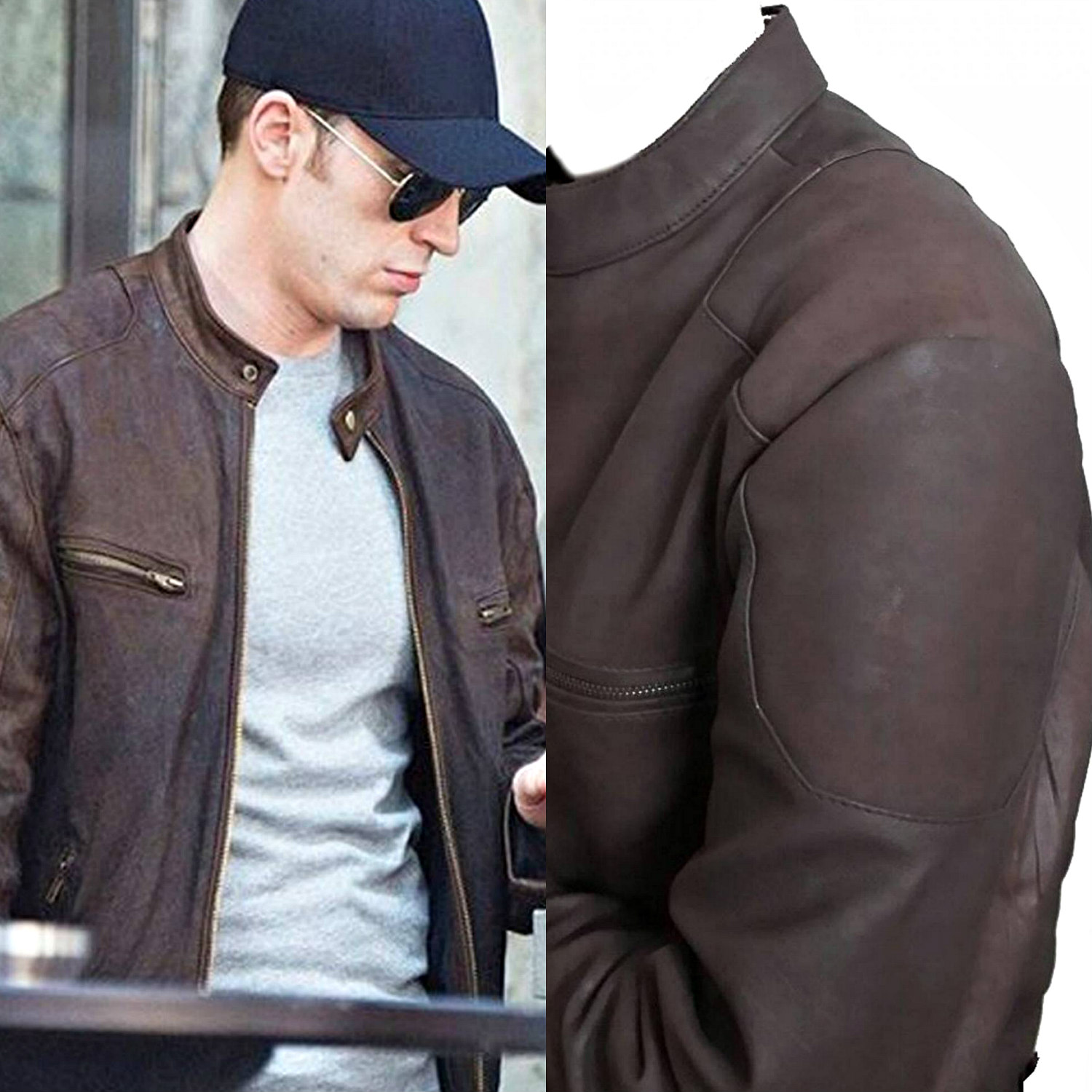 Captain America: Civil War Men's Steve Rogers Brown Distressed Real Leather Jacket - DeluxeAdultCostumes.com